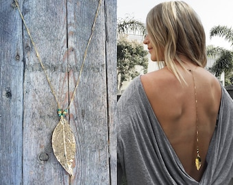 Handmade Bohemian Festival Necklace with Back Body Chain, Gold Leaf Pendant, Turquoise Crystals on Dainty Gold Chain. Available in Silver