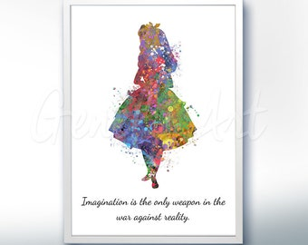 Alice in Wonderland Motivational Quote Watercolor Poster Print - Wall Decor -Watercolor Painting - Watercolor Art - Nursery Decor [1]
