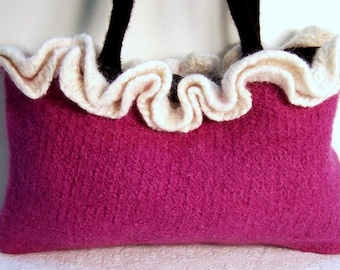 Fabric Lined Pink Wool Felt Purse, Knit Ruffle Purse, Pink Wool Felt Bag, Boiled Wool Purse, Wool Ruffle Purse, Pink Knit Wool Ruffle Bag,