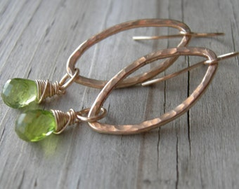 Peridot Gold Dangle Earrings