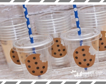 Milk and Cookies Birthday Party, Set of 8 or 12 You Choose Party Cups, Favor Cups