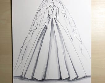 Bridal illustration-Princess Margaret wedding gown Illustration