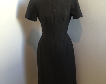 1950's Adorable Mad Men Rockabilly Dark Grey Party Dress Size Small