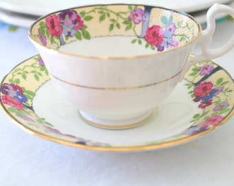 Vintage English Bone China Aynsley Wide Mouthed Rare Tea Cup and Saucer Tea Party - c. 1934 - 1950's
