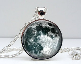 Full Moon Pendant Necklace - Unique Silver Space Planet Photo Jewelry Black & White Accessory
