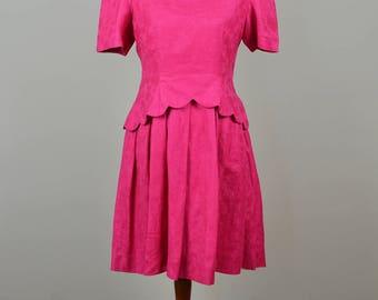 Hot Pink Party Dress // Vintage 1980s // Size 6 Size 8