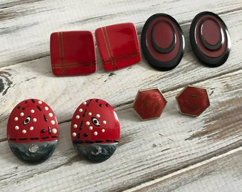 Red and back pierced earring lot vintage red post earrings vintage 80s earring destash lot
