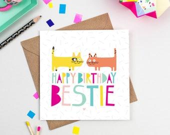 Happy Birthday Bestie - Cat - Card