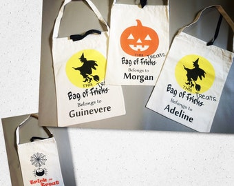 Personalized Halloween trick or treat tote bag candy bag