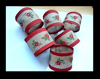 CHRISTMAS NAPKIN RINGS, Rustic Red w/ Tan Burlap, Poinsettia Napkin Ring, Red with Silver Metallic, Seasonal Decor, Table Decor, Set of 6