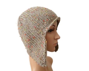 Knit Aviator Hat, Ear Flap, Womens Winter Hat Chunky Knit Hat