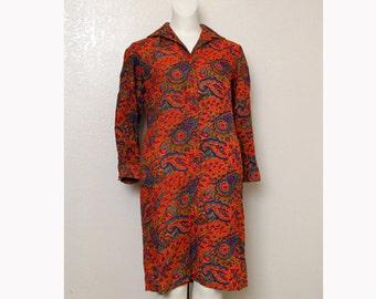 Vintage 60's Psychedelic Paisley Print Dress, size Medium/Large
