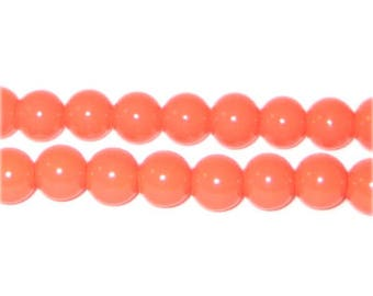8mm Orange Team and School Glass Bead, approx. 56 beads