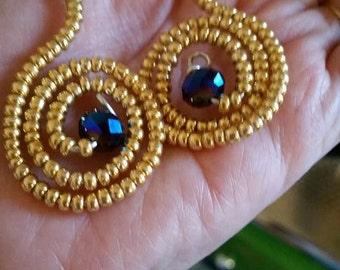 Gold & Blue 3D Beaded Earrings