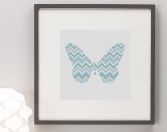 Butterfly Blue Chevron Silhouette Cross Stitch Pattern