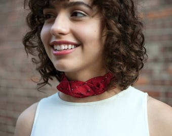 Power Red Choker - Vintage Silk Choker - Gifts Under 50 - Fabric Choker - Hipster Clothing - Red Firework Isabella Choker. 3.