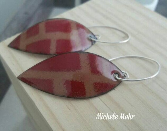 Flame Red and Chamois Enamel Copper Leaf Earrings with Sterling Silver Ear Wires