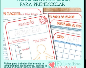 Fichas de rutina diaria para prescolar -español-