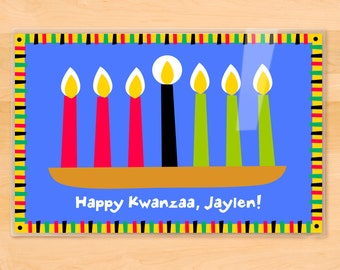 Olive Kids Personalized Kwanzaa Placemat, Kids Placemat, Seasonal Placemat, Holiday Placemat, Laminated Placemat