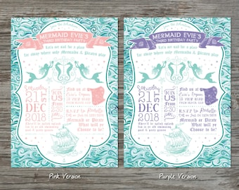 Mermaids and Pirates Party Invitation - Customized Digital files
