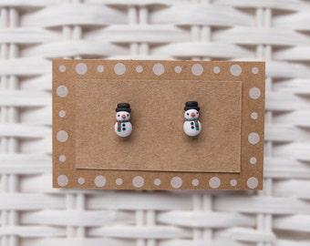 Snowman Stud Earrings, Snowman Polymer Clay  Earrings, Snowman Winter Earrings, Holiday Season Earrings, Handmade Earrings