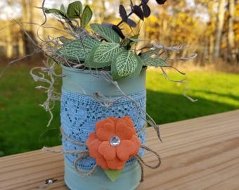 Rustic floral tin can
