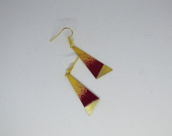 triangular earrings enamelled effect red and gold/geometric/jewellery/modern/minimalist/gifts for women