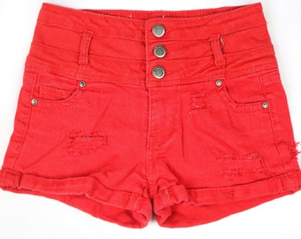 Red High Waisted Distressed Shorts