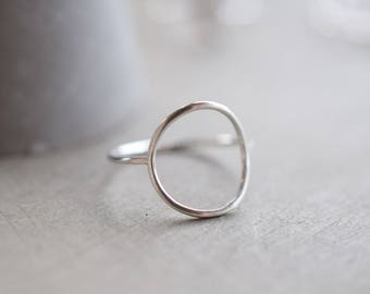 Skinny Sterling silver circle ring, 1 mm stackable ring. silver ring, gift for her