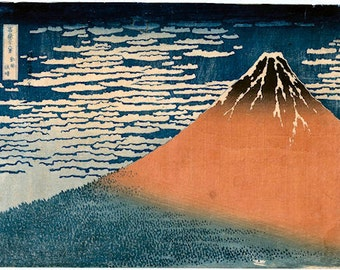 Mount Fuji in clear weather with a southerly breeze copy of Japanese woodblock print by Hokusai