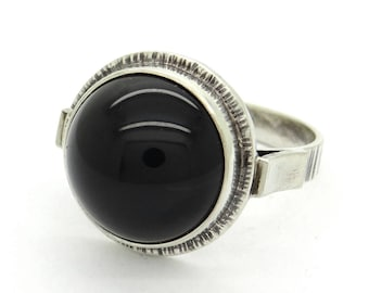 Black Onyx & 835 Silver Ring Size 8.75 Nordic Modernist Design, Talisman Ring, Black Gemstone Goth Ring, Healing Jewelry