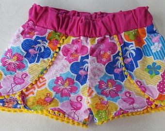 Flamingo shorts/ toddler bottoms/ coachella shorts/ summertime bottoms/ boutique clothing/  children shorts/ girl clothes/ 4T/ pompom shorts