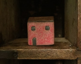 Miniature Rustic Red Cottage/ Ceramic House/ Tiny Home