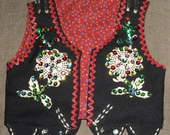 1950's Little Girls Christmas Vest Hand Sequined Beaded