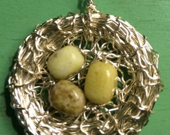 Hand Made Bird Nest Pendant Mossy GreenStone Eggs
