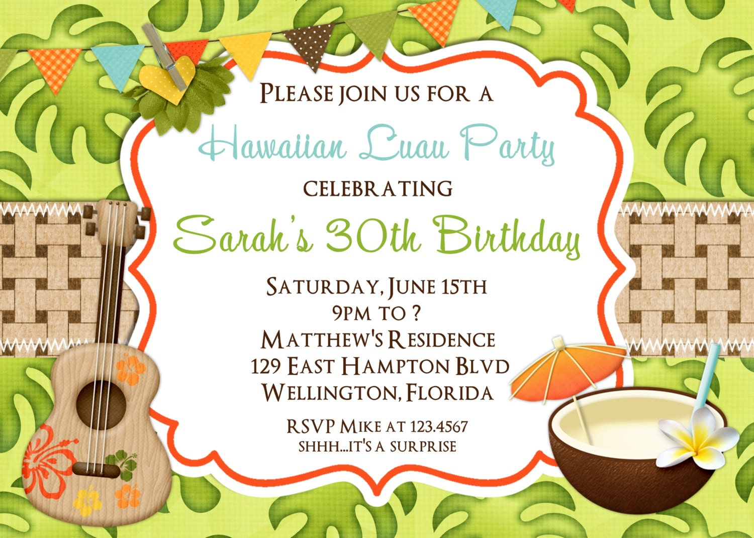 Tropical Hawaiian Luau Adult Birthday Party Invitation