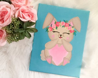 Baby Girl Nursery - Baby Girl Nursery Decor - Kids Wall Art - Baby Shower Gift - Bunny Wall Art - Bunny Nursery