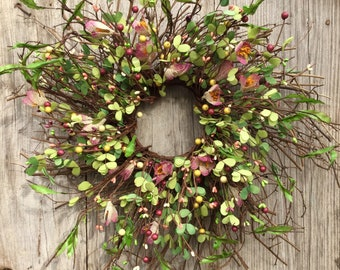 Pink Crocus and Pip Berry Wreath