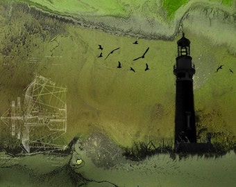 Theories of Flight  - Sea Gulls  -  8 x 10 Encaustic and Photographic Etching - Coastal Lighthouse Landscape - Limited Edition Print