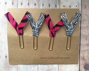 4 zebra themed ribbon paper clips - 2 pink/black & 2 white/black - gold or silver toned clip - end of year or teacher appreciation gift