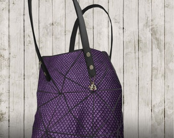 Purple fish scale embossed leather Tote, lined Leather Bag with pockets, Handbag, Leather Bag Purple Tote, Unique leather gift