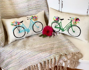 Summer Pillow, Bicycle Pillow, Flowers Pillow, Bicycle Decor, Farmhouse Pillows, Summer Farmhouse Pillows, Bicycle Gift