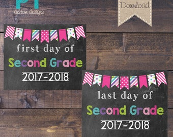 INSTANT DOWNLOAD - Pink Flag - Second Grade First Day and Last Day of School Sign 2017-2018 - PRINTABLE 8x10