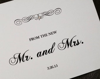 Wedding thank you note cards. Set of 20