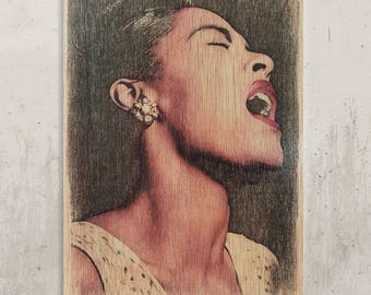Billie Holiday//Transfer on wood