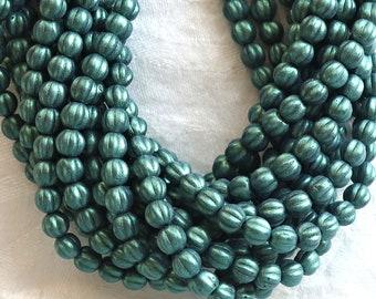 Fifty 5mm Czech glass melon beads, matte metallic light green suede pressed glass beads C9750