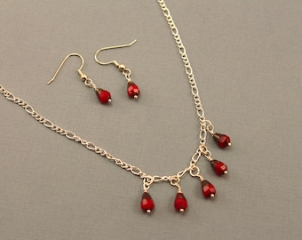 Silver Necklace and Earrings with Red Drops