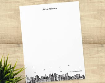 New York City skyline personalized stationery set of 20 cards and envelopes, return address printing included