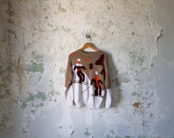 Vintage Ski Sweater - 70s 1970s Pullover Jumper -  S M L White Brown Orange Skier Skiing