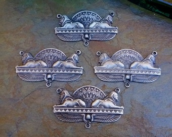 Egyptian Revival Pendant, Sphynx, Pewter, Handmade, 49x29mm, Antique Silver, Priced per Piece